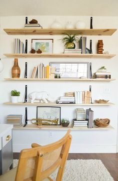 Alicia's Office Reveal reverse bracket and plywood shelves. Alicia's Office Reveal – Vintage Revivals Furniture, Shelves, Interior, Home, Shelf Inspiration, House Interior, Home Deco, Home Diy, Plywood Shelves