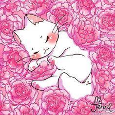 Manga Kawaii, Kawaii Cat, Kawaii Anime Girl, Cute Anime Cat, Cute Animal Drawings Kawaii, Cute Cat Drawing, Cute Drawings, Animes Wallpapers, Cute Wallpapers