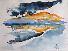 Abstract Beach Landscapes | Staffelsee Bavaria, Watercolor and Ink, 30cm x 40cm