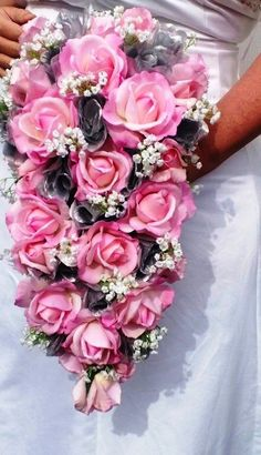 Cascading Real touch Pink Rose Bouquet, Pink rose Bouquet, Real touch bouquet, Pink Bouquet, Cascading Bouquet, Cascading rose Bouquet