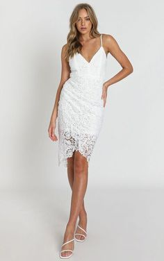 Complete your look with the Typical Lover Dress In White Lace from Showpo! Buy now, wear tomorrow with easy returns available. Shower Dress For Bride, Shower Dresses, White Lace, White Dress, Bachelorette Outfits, Lover Dress, Bridal Outfits, Pencil Dress, Formal Dresses