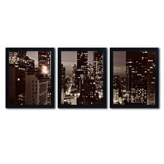 NYC After Dark by Ariane Moshayedi 3 Piece Framed Photographic Print Set
