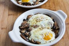 Kalyn's Kitchen®: Recipe for Baked Eggs with Mushrooms and Parmesan Skip the whole wheat toast listed and replace with Gluten Free bread or wrap. Eggs And Mushrooms, How To Cook Mushrooms, Stuffed Mushrooms, Paleo Recipes, Low Carb Recipes, Cooking Recipes, Yummy Recipes, Recipies, Skinny Recipes