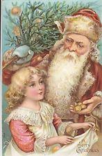 "ca. 1910s or earlier - SANTA CLAUS w Young Girl  ""A merry Christmas"" SCHLOSS 642"
