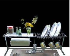 If you prefer not to hang baskets, get an over the sink rack.