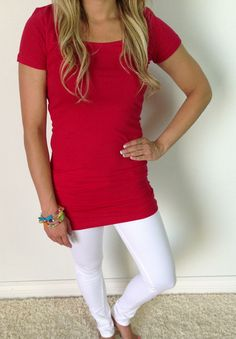 Long Layering Tee comes in basic colors and fun colors!! PERFECT length! ONLY $18 http://www.sexymodest.com/collections/basics/products/long-layering-tee #modest #layeringtee #freeshipping