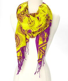 Yellow & Purple Peacock Khanga Scarf by Mili Designs NYC, $14 !!  #zulily #zulilyfinds