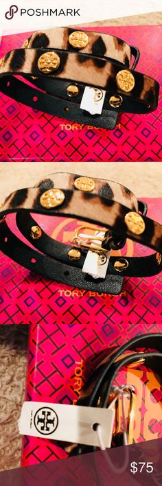 Tory Burch leopard double wrap bracelet new Tory Burchleopard double wrap bracelet  Authentic double wrap logo bracelet by Tory Burch in leopard print fur.    14k plated logo studs.  designer gift box included adjustable Tory Burch Jewelry Bracelets