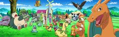 All  of Ash's pokemon at Prof. Oak's lab