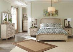 Demarlos Queen Upholstered Panel Bed, Dresser, Mirror Chest,