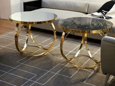 Ottoline - Gold Coffee Table - Ottoline Contemporary Italian table shown in glass top with gold metal base. Finishes: bronze metal, chrome m. Gold Glass Coffee Table, Coffee And End Tables, Coffe Table, Coffee Table Design, Modern Coffee Tables, Metal Furniture, Luxury Furniture, Italian Furniture, Home Furniture