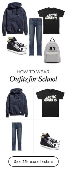 """""""school"""" by tangledtongue on Polyvore featuring H&M, Paige Denim, Converse, Joshua's, women's clothing, women, female, woman, misses and juniors"""