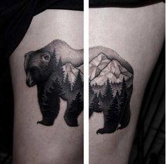 Amazing dotwork bear tattoo