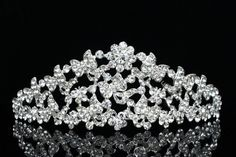Bridal Butterfly Flower Rhinestone Crystal Wedding Crown Tiara 6763 | eBay