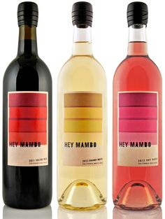 Hey Mambo – the popular line of blended wines in The Other Guys #wine portfolio – has a new look. Inspired by the heritage, culture and sound of #Mambo music and dance, the new label is brightly colored and features graduated layers of hues, much like a series of paint swatch palates. #packaging #redesign #zork