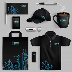 Corporate identity objects set with smartphone lighter cup with. Corporate Identity Design, Brand Identity Design, Branding Design, Brochure Design, Shirt Logo Design, Shirt Designs, Mise En Page Web, Kalender Design, Web Design