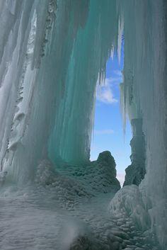 Grand Island Ice Cave - Landscape of an ice cave, Grand Island Recreation Area, Lake Superior, Michigan's Upper Peninsula, USA