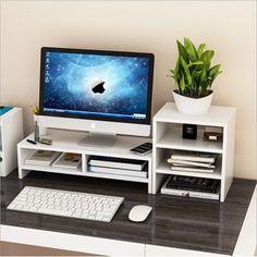 Computer Monitor Riser,Ymiko Desktop Monitor Stand LCD TV Laptop Rack Computer Screen Riser Shelf Platform Office Desk Black - Walmart com