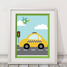 Things That Go Vroom Theme Kids 11x14 Wall by PickleberryDesignsNY