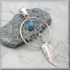Dreamcatcher Necklace Sterling Silver Turquoise Stone Feather Dream Catcher…