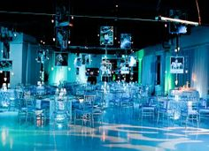 Heaven Event Center.  Bat Mitzvah with hanging photo frames.