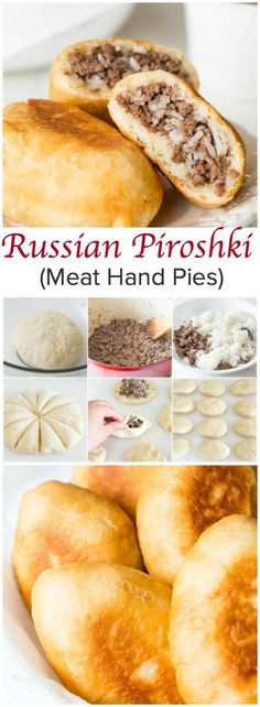Perfect for picnics, potlucks and any summer activities, these Russian piroshki (meat hand pies) are made of tender and soft dough, filled with simple meat and rice mixture and fried till crisp golden perfection! (Simple Dinner Recipes With Hamburger) Ukrainian Recipes, Russian Recipes, Russian Foods, Russian Dishes, Russian Meat Pie Recipe, Lithuanian Recipes, Good Food, Yummy Food, Vegan Recipes