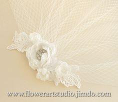 Bridal Ivory Hair Flower, Lace Bridal Headpiece, Bridal Blusher Veil, Bridal Hair Accessories, Birdcage Fascinator, Ivory Birdcage Veil.