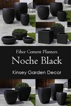 Lightweight Fiber Cement Planters for sale. Cement Planters, Tall Outdoor Planters, Planters For Sale, Black Planters, Flower Planters, Concrete Pots, Garden Planters, Hanging Plants, Indoor Plants