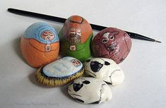 Nativity scene figures hand painted on rocks
