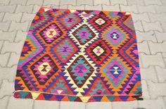 lots of lots of great kilim rugs VINTAGE Turkish Kilim Rug (Mini Eye Patterned) -43 x 42 (109 x 107 CM) via Etsy