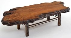 Contemporary Rustic Coffee Table Redwood with Forged Base