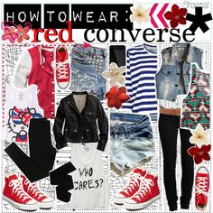 """""""how to wear: red converse   ♥"""" by preppy-tip-girls-xo on Polyvore How To Wear Loafers, How To Wear Sneakers, How To Wear Leggings, Red Sneakers, Red Converse Outfit, Tennis Shoes Outfit, Converse Style, Converse Fashion, Red Chucks"""