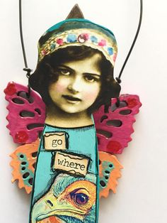 Mixed Media Art Paint Brush Doll Collage Assemblage Paint