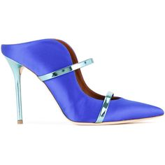 Malone Souliers High Shine Trim Pumps ($598) ❤ liked on Polyvore featuring shoes, pumps, blue leather shoes, blue pumps, shiny shoes, blue shoes and leather footwear