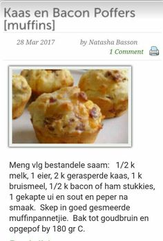 Savoury cheese and pancetta puffs - keeper Cheese And Bacon Muffins, Savory Muffins, Savory Snacks, Savoury Dishes, Baking Recipes, Dessert Recipes, Yummy Recipes, Recipies, Desserts