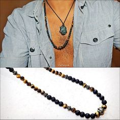 Gift For Man - Long Gem Necklace - Lava and Tiger eye Beaded surfer Necklace…