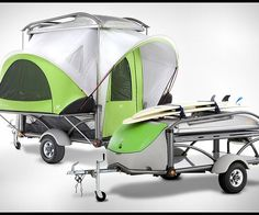 'This is probably the most unique camping and travel trailer youll ever find. Sylvansport Go is as versatile as a Swiss Army knife, it weighs only 800 lbs, meaning it can be pulled by even the smallest cars. The tent sets up in minutes and stows cleanly into the roofs storage box. It also comes equipped with a weather-tight gear box that locks to keep your weekend camping essentials secure and ready for whenever you go.' Wow!!!
