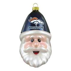 Denver Broncos NFL Football Blown Glass Santa Cap Christmas Ornament Decoration -- Want to know more, click on the image.