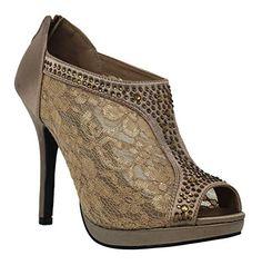 e876e30169d MVE Shoes Women s Lace Bridal High Heel Platform Peep Toe Shootie - Satin  Lace Open Toe