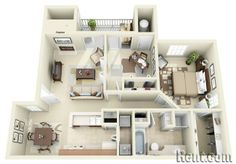 One, Two & Three Bedroom Apartments for Rent Sims House Plans, House Layout Plans, Floor Plan Layout, House Layouts, Small House Plans, House Floor Plans, Apartment Floor Plans, Bedroom Floor Plans, Apartment Layout