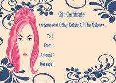 Gift Certificates Samples Alluring Free Printable Beauty Salon Gift Certificates Template  Salon Gift .