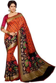K.C Self Design Bollywood Art Silk Saree(Orange)