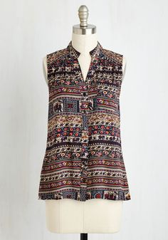 Precious Pachyderms Top. Fall in love with this darling sleeveless blouse from the moment you first try it on. #multi #modcloth