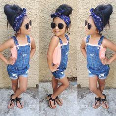 Fashion: bandanna rockabilly hair w short overalls and a peach camisole.