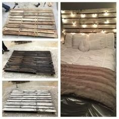 """I stumbled across this awesome DIY bed headboard made from old wood pallets! Kelsie said her boyfriend did most of it and he said """"I doubled up a 1×4 and made the outside one longer so that it makes a hanger. We also tore off boards from other pallets and added them to the side … by jeanne #AndSoToBed"""