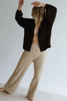 James Ribbed Pant - Fawn – beiged Cotton Thread, Sweatpants, Knitting, Tees, Fashion, Moda, T Shirts, Tricot, Fashion Styles