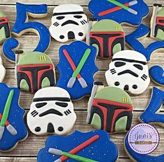 Star Wars Decorated Cookies.  Storm Trooper, Boba Fett, Light Sabor, birthday.  janisbakes.com