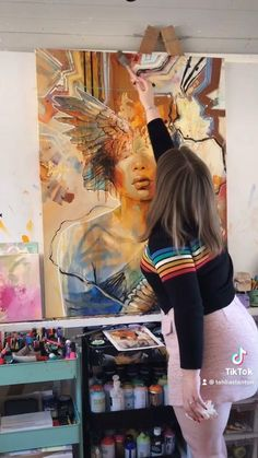 Cool Art Drawings, Art Drawings Sketches, Portrait Art, Abstract Portrait Painting, Portrait Paintings, Artist Painting, Diy Canvas Art, Painting Canvas, Collage Art