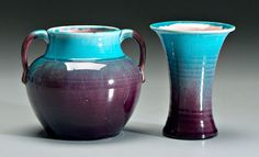 Pisgah Forest aubergine and turquoise crackle glazed  pottery, 1941 and 1939, 6""