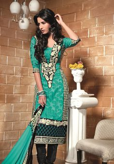 $54.40 Teal Blue Embroidered Faux Georgette Pakistani Salwar Kameez 22571